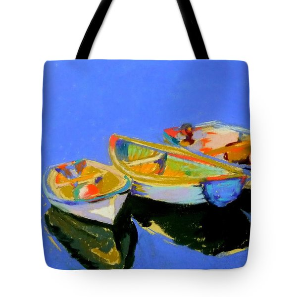 Three Colourful Boats Tote Bag by Sue Gardner