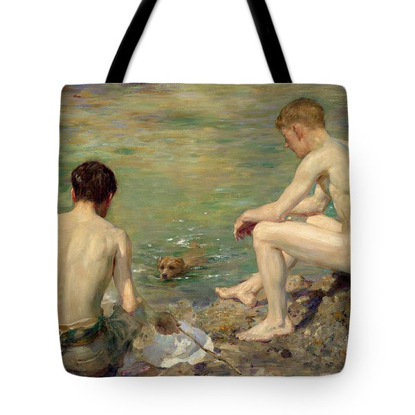 Three Companions Tote Bag by Henry Scott Tuke