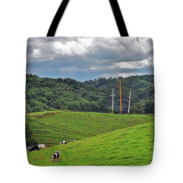 Three Crosses On The Farm Tote Bag by Lydia Holly