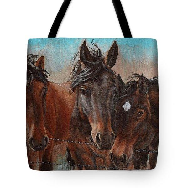Three Curious Friends Tote Bag