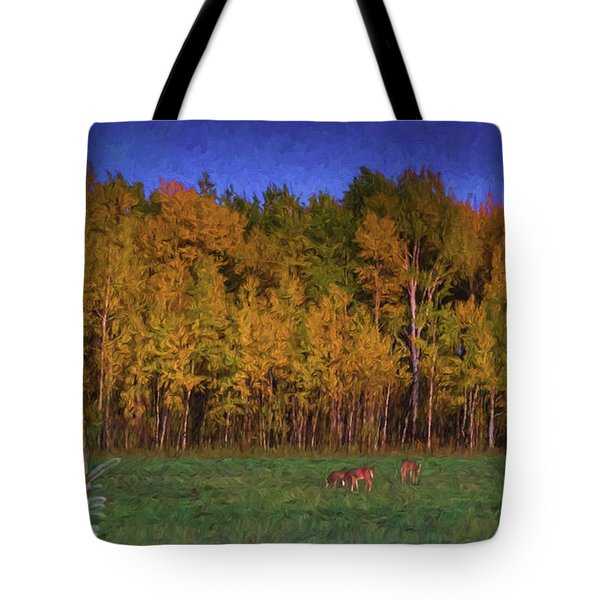 Three Deer And A Moon Tote Bag