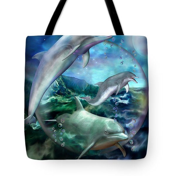Three Dolphins Tote Bag