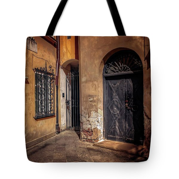 Three Doors In Warsaw Tote Bag by Carol Japp