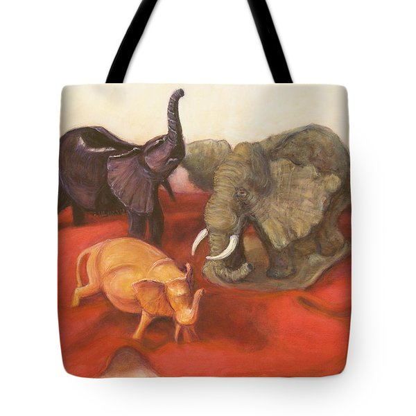 Three Elephants Tote Bag