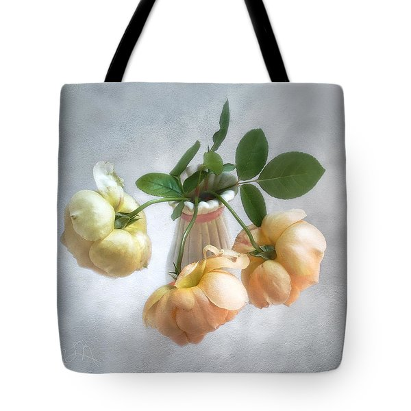 Three English Roses Tote Bag by Louise Kumpf