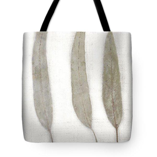 Three Eucalyptus Leaves Tote Bag by Carol Leigh
