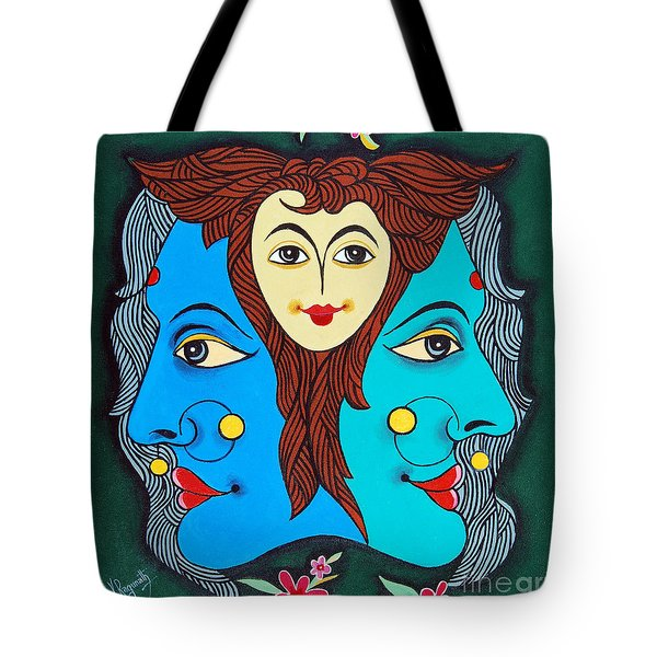 Three Faces Of Smiling Tote Bag by Ragunath Venkatraman