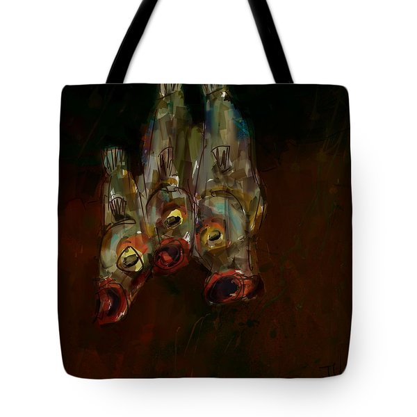Tote Bag featuring the digital art Three Fish by Jim Vance