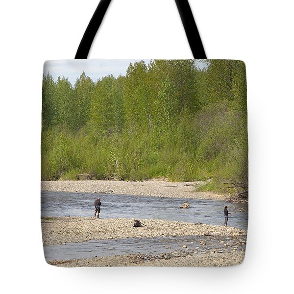 Three Friends Fishing For Salmon Tote Bag by Allan Levin