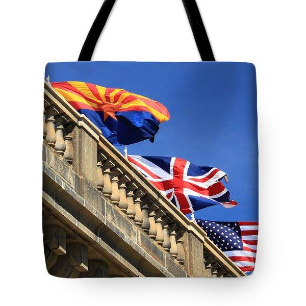 Three Flags At London Bridge Tote Bag