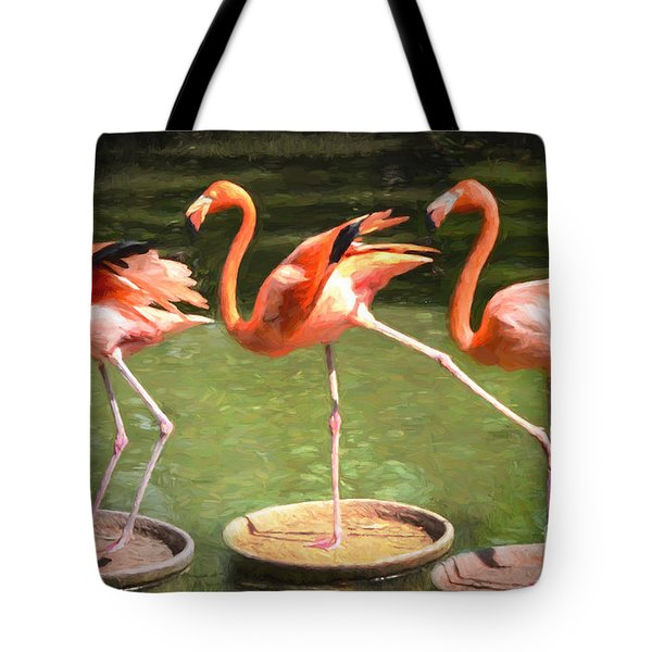 Tote Bag featuring the photograph Three Flamingos by Judy Wolinsky