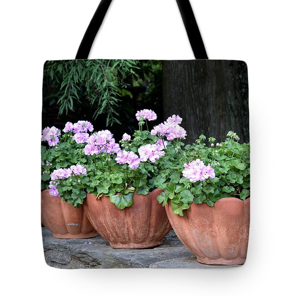 Tote Bag featuring the photograph Three Flower Pots by Deborah  Crew-Johnson