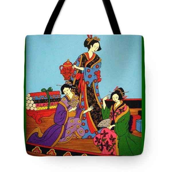 Tote Bag featuring the painting Three Geishas by Stephanie Moore