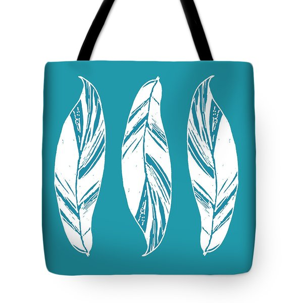 Three Ginger Leaves - Teal Tote Bag