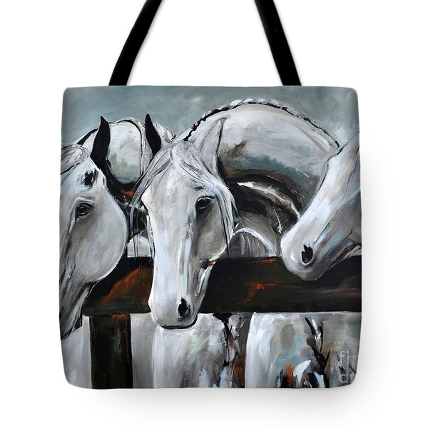 Tote Bag featuring the painting Three Greys by Cher Devereaux