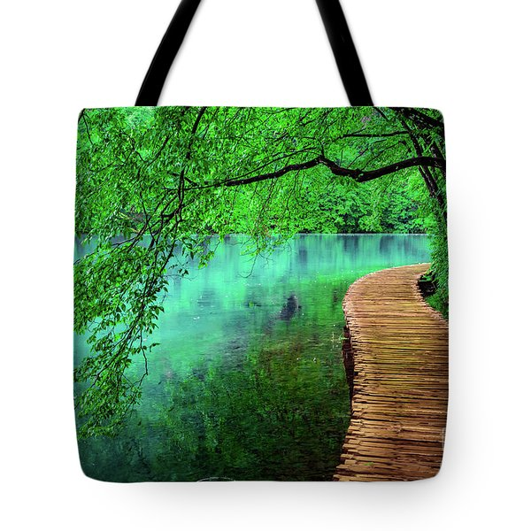 Tree Hanging Over Turquoise Lakes, Plitvice Lakes National Park, Croatia Tote Bag