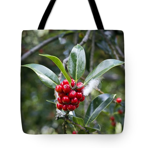 Three Happy Leaves Among Red Berries Tote Bag