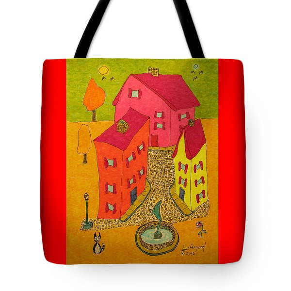 Three Homes With Sculpture Fountain Tote Bag