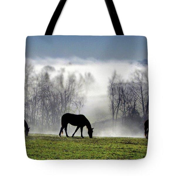 Three Horse Morning Tote Bag