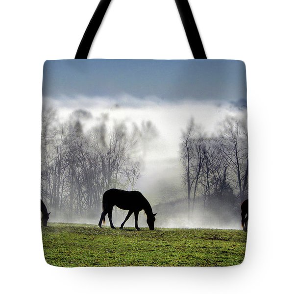 Three Horse Morning Tote Bag