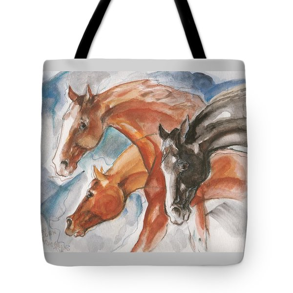 Three Horses Tote Bag by Mary Armstrong
