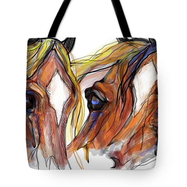 Three Horses Talking Tote Bag