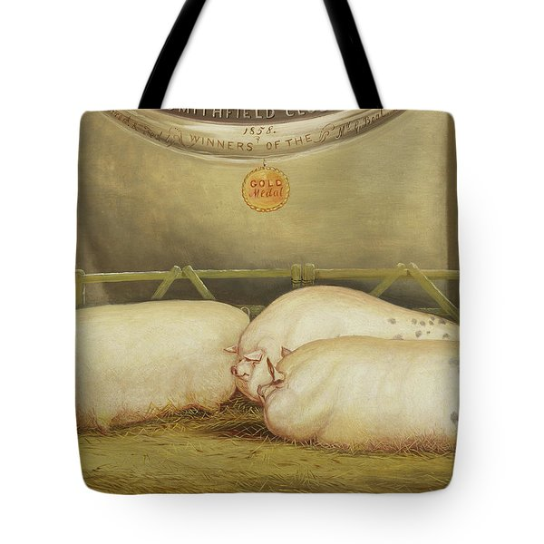 Three Improved Leicesters In A Pen At 1858 Smithfield Club Christmas Show Tote Bag