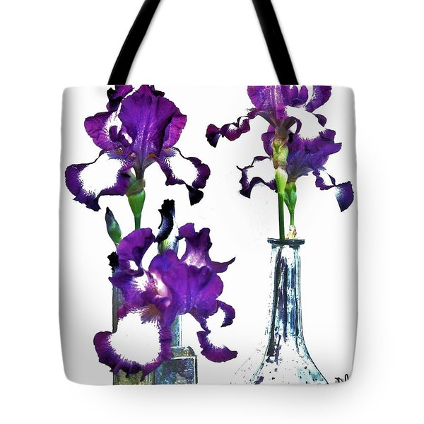Three Irises In Vases Tote Bag