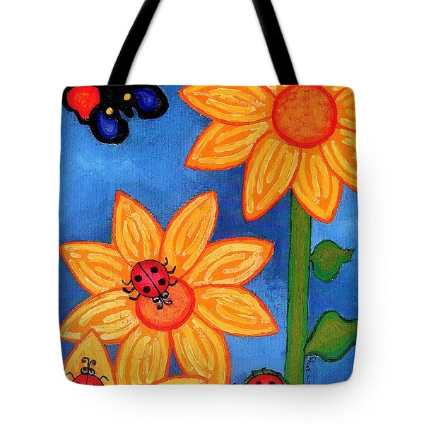 Three Ladybugs And Butterfly Tote Bag by Genevieve Esson