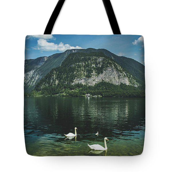 Three Lake Hallstatt Swans Tote Bag