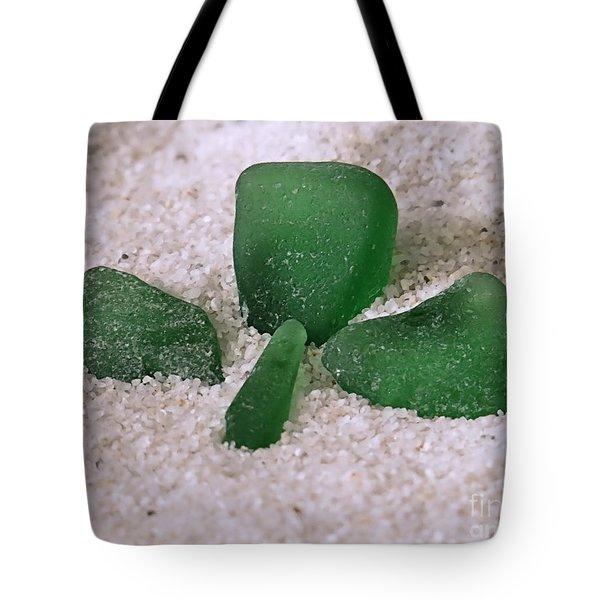 Three Leaf Clover Sea Glass Tote Bag