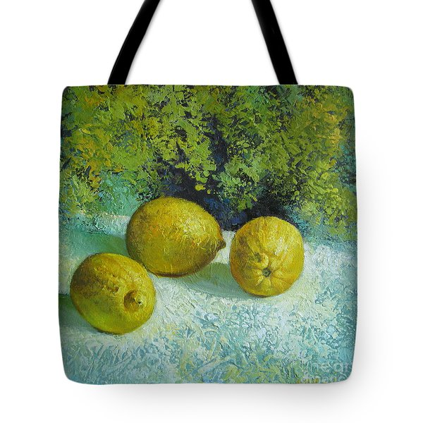 Tote Bag featuring the painting Three Lemons by Elena Oleniuc