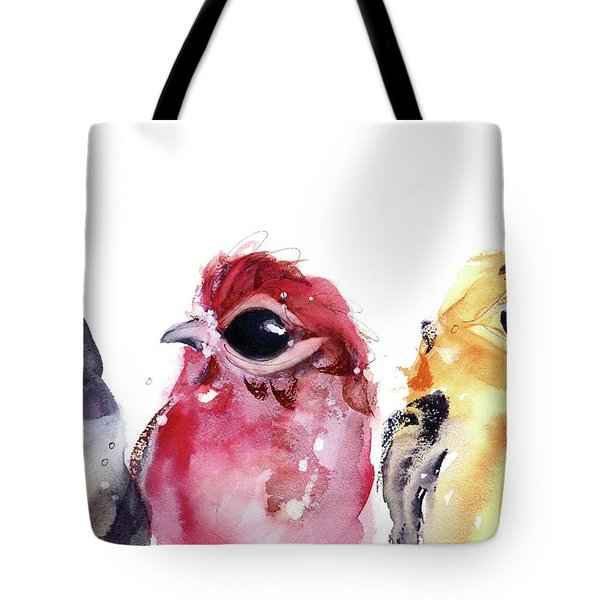 Tote Bag featuring the painting Three Little Birds by Dawn Derman