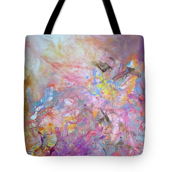Tote Bag featuring the painting Three Little Birds by Robert Anderson