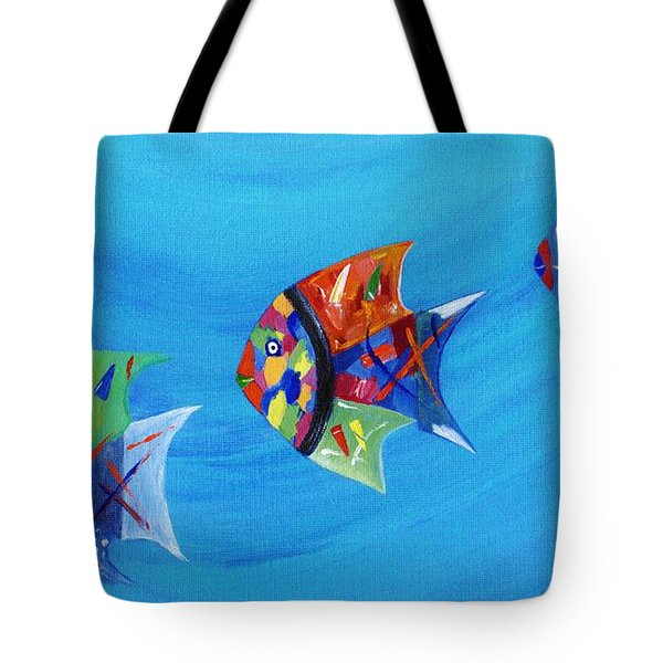 Tote Bag featuring the painting Three Little Fishy's by Jamie Frier
