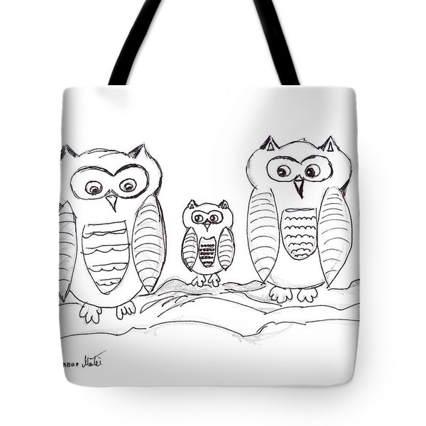 Three Little Owls Tote Bag by Ramona Matei