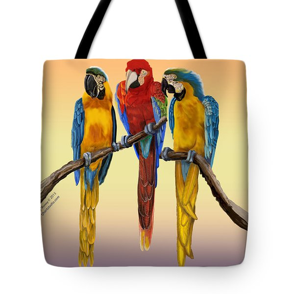 Three Macaws Hanging Out Tote Bag by Thomas J Herring