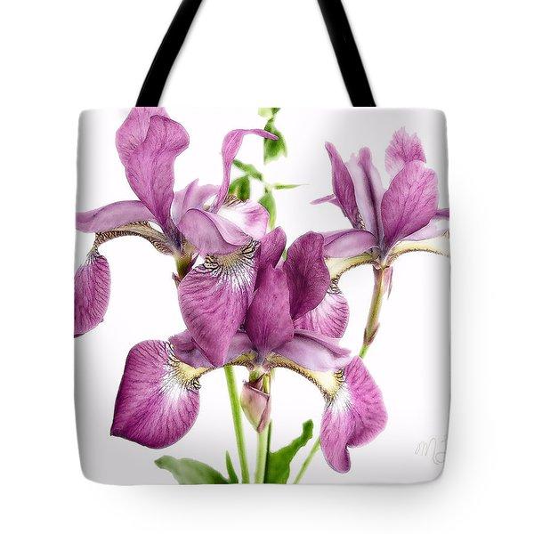 Three Mauve Japanese Irises Tote Bag