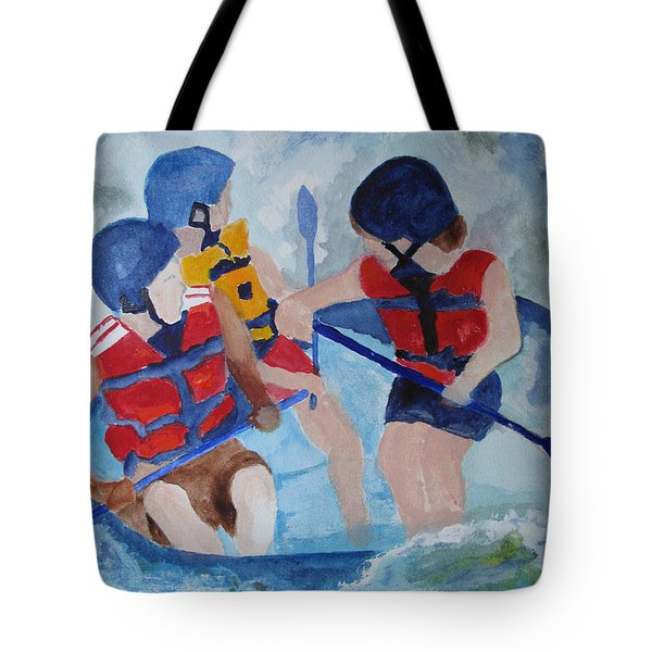 Tote Bag featuring the painting Three Men In A Tube by Sandy McIntire