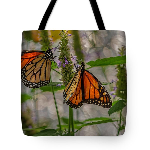 Tote Bag featuring the digital art Three Monarch Butterfly by Keith Smith