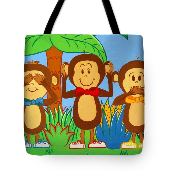 Three Monkeys No Evil Tote Bag