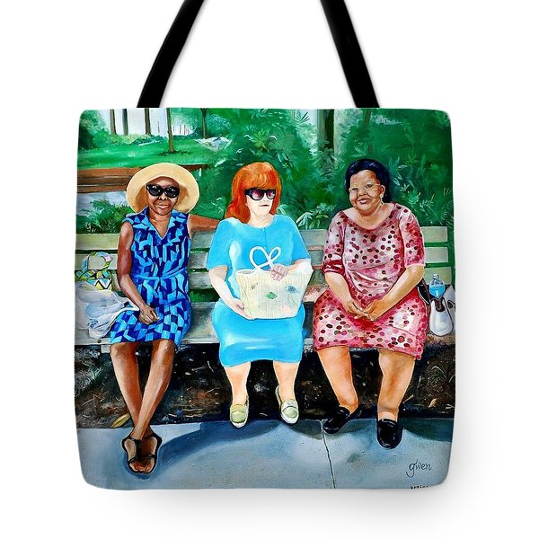 Three On A Bench Tote Bag