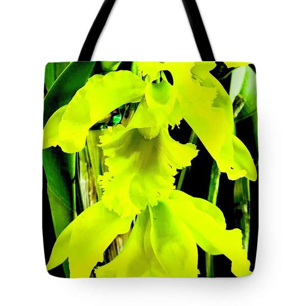 Three Orchids In Yellow Tote Bag
