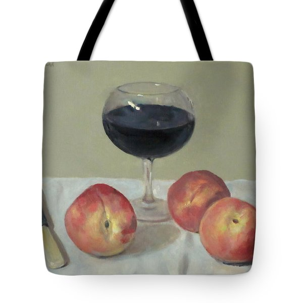 Three Peaches, Wine And Knife Tote Bag
