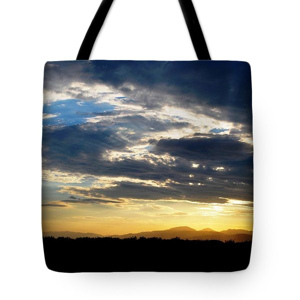 Three Peak Sunset Swirl Skyscape Tote Bag