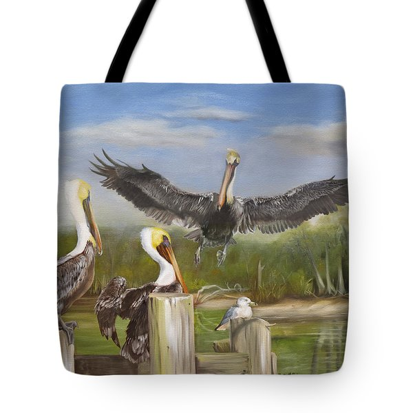 Tote Bag featuring the painting Three Pelicans And A Seagull by Phyllis Beiser