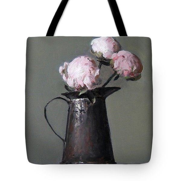 Three Peony Buds In Old Tin Can Tote Bag