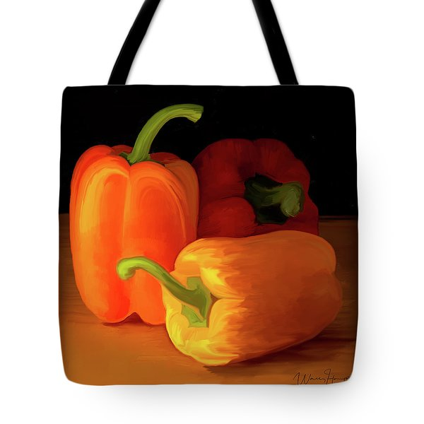 Three Peppers 01 Tote Bag by Wally Hampton