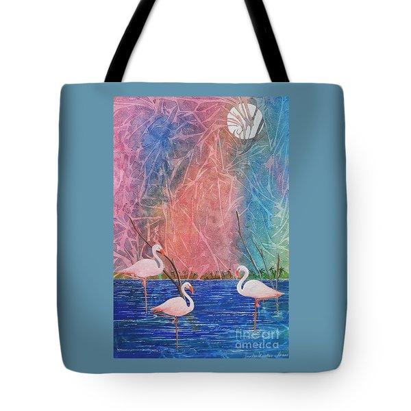 Three Pink Flamingos Tote Bag by Jackie Mueller-Jones