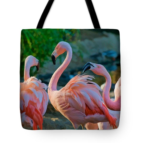 Three Pink Flamingos Strutting Their Stuff Tote Bag